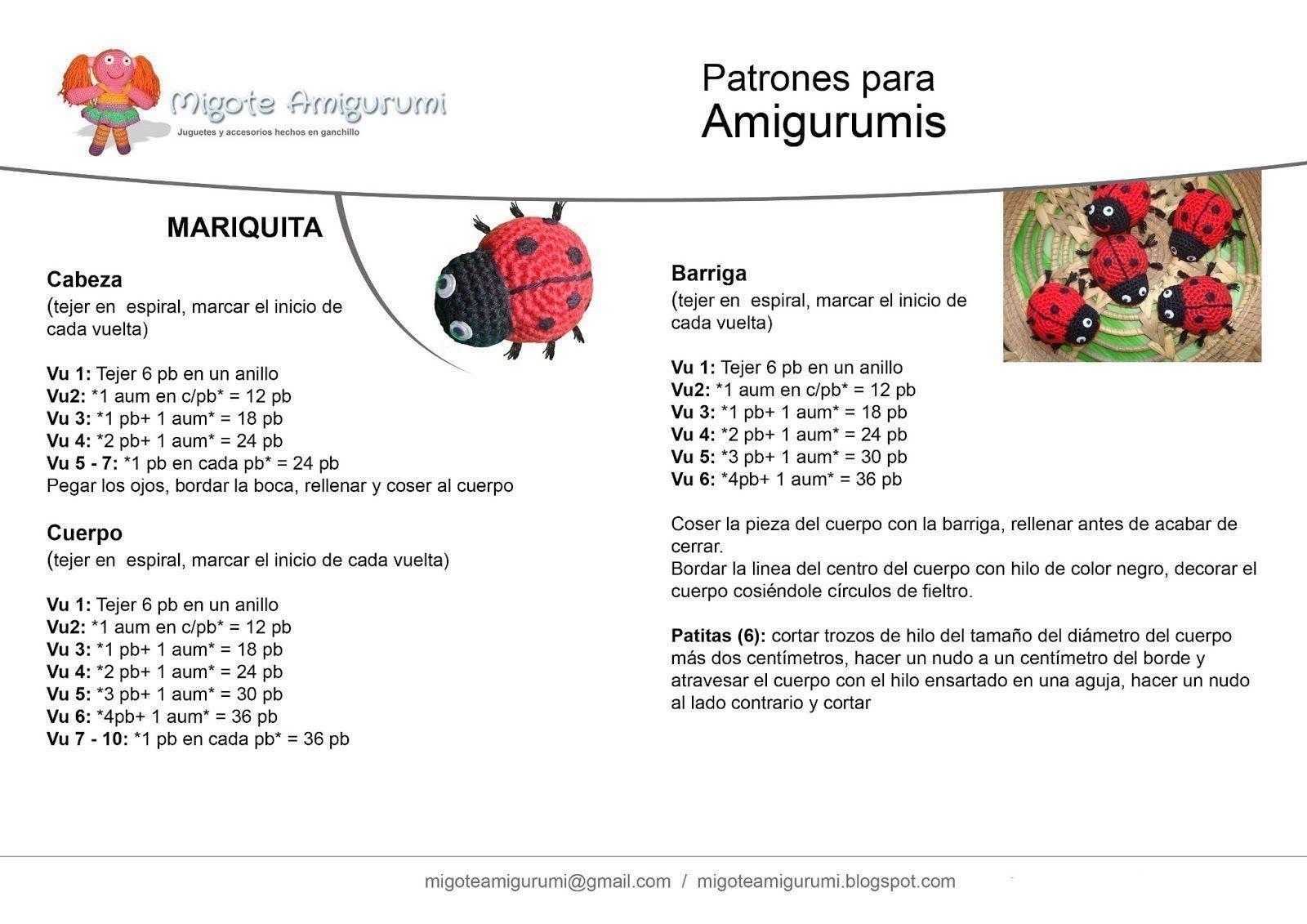 Patrón de mariquita amigurumi - Patrones gratis | Ganchillo ...