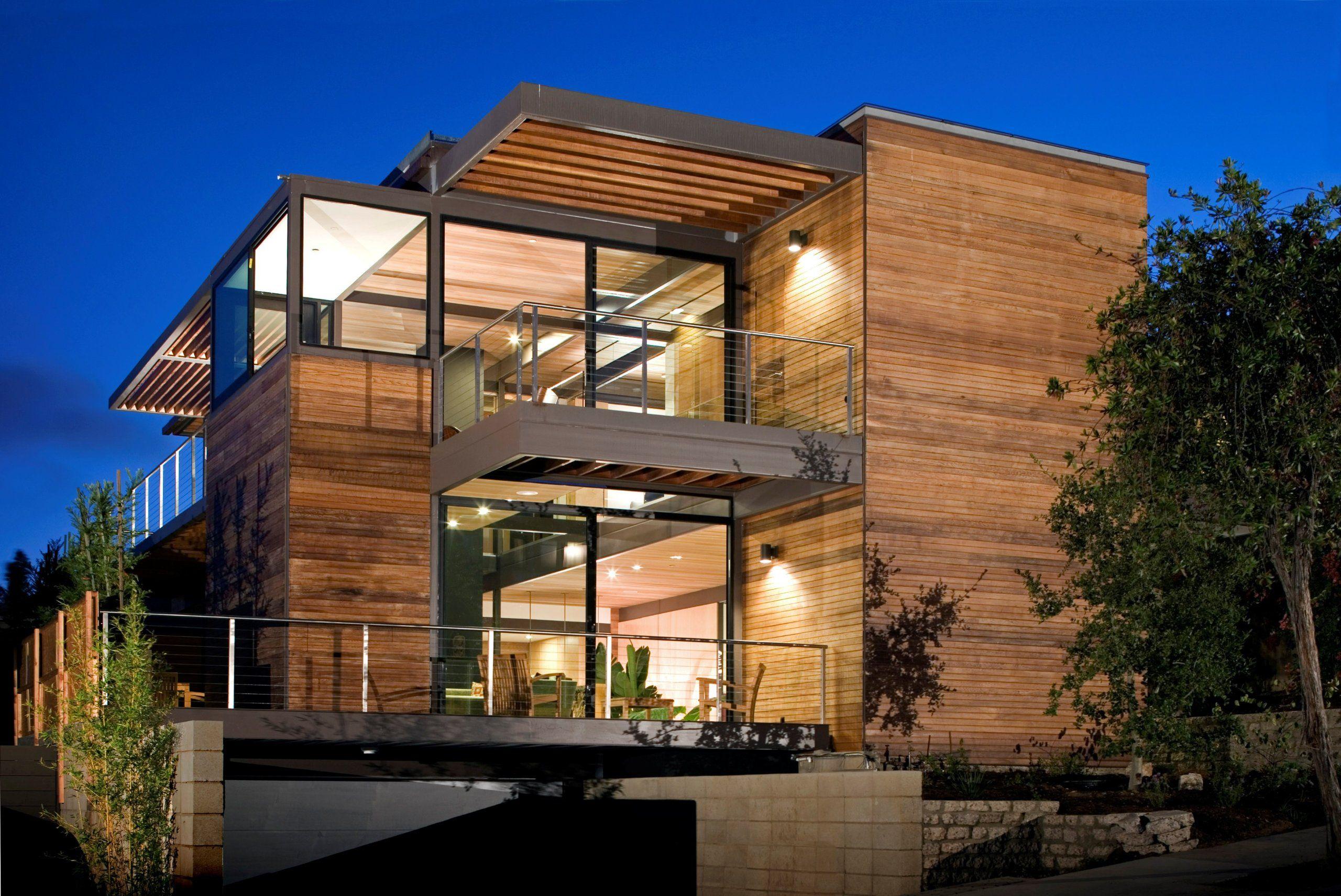 Casa Prefabricada De Acero Madera Y Cristal Arquitectura