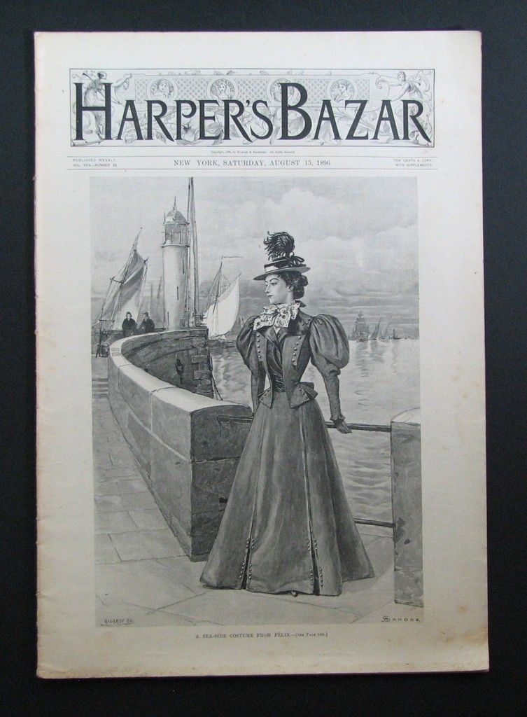 1896 Harper's Bazar Magazine August Bridal Gown Fashion | eBay