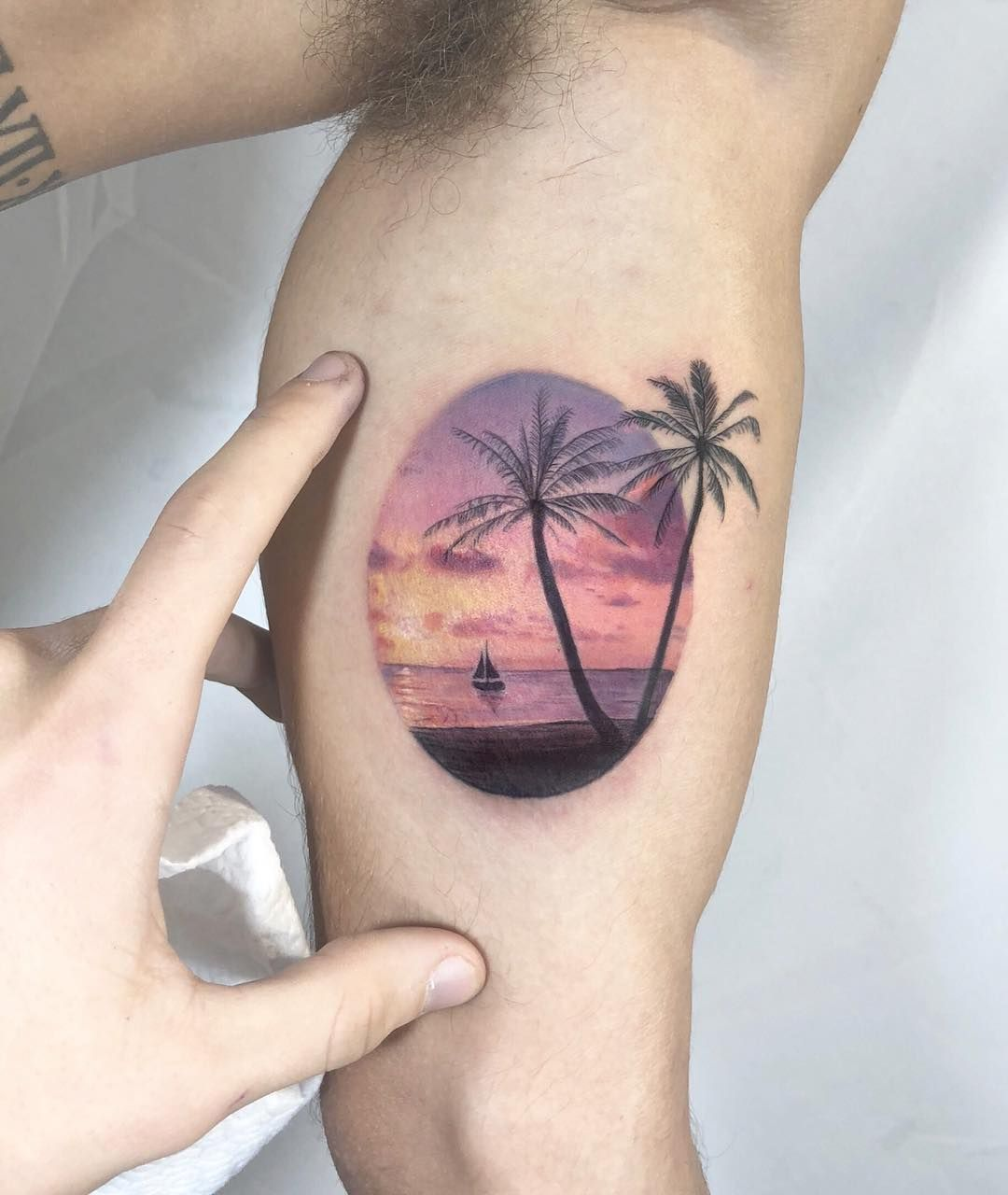 Palm Trees Sunset Beach Scene Tattoo Small Tattoos Sunset