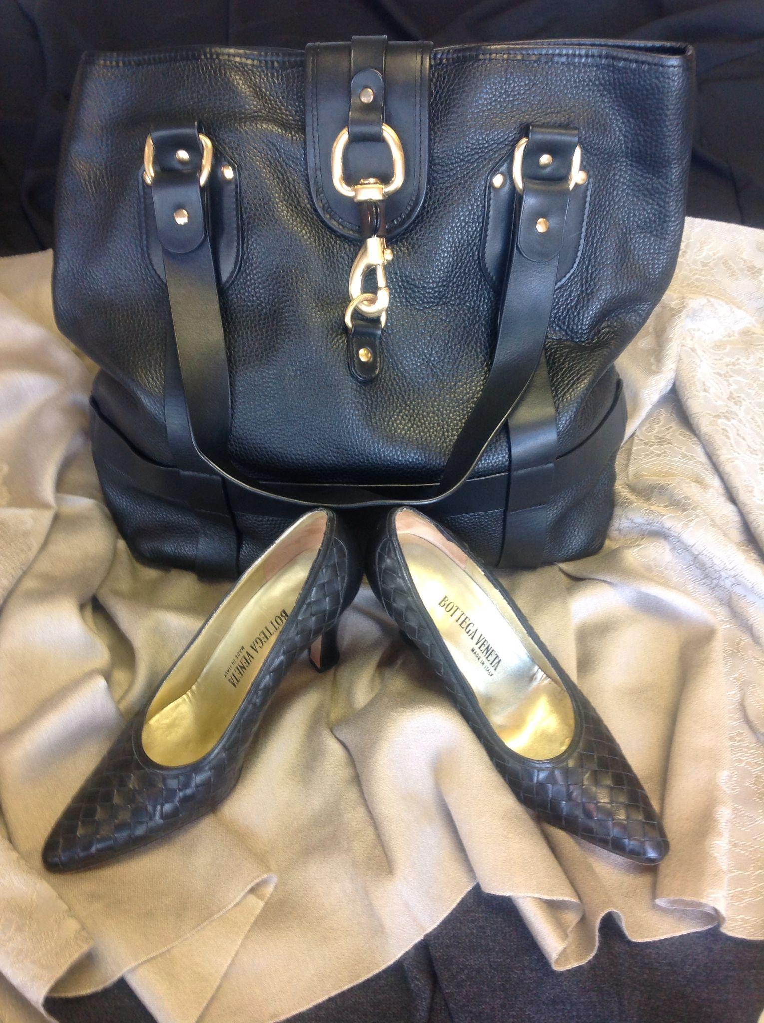 Chloe Black Leather Purse $401, Bottega Veneta Leather Woven Pumps sz. 7.5 $176
