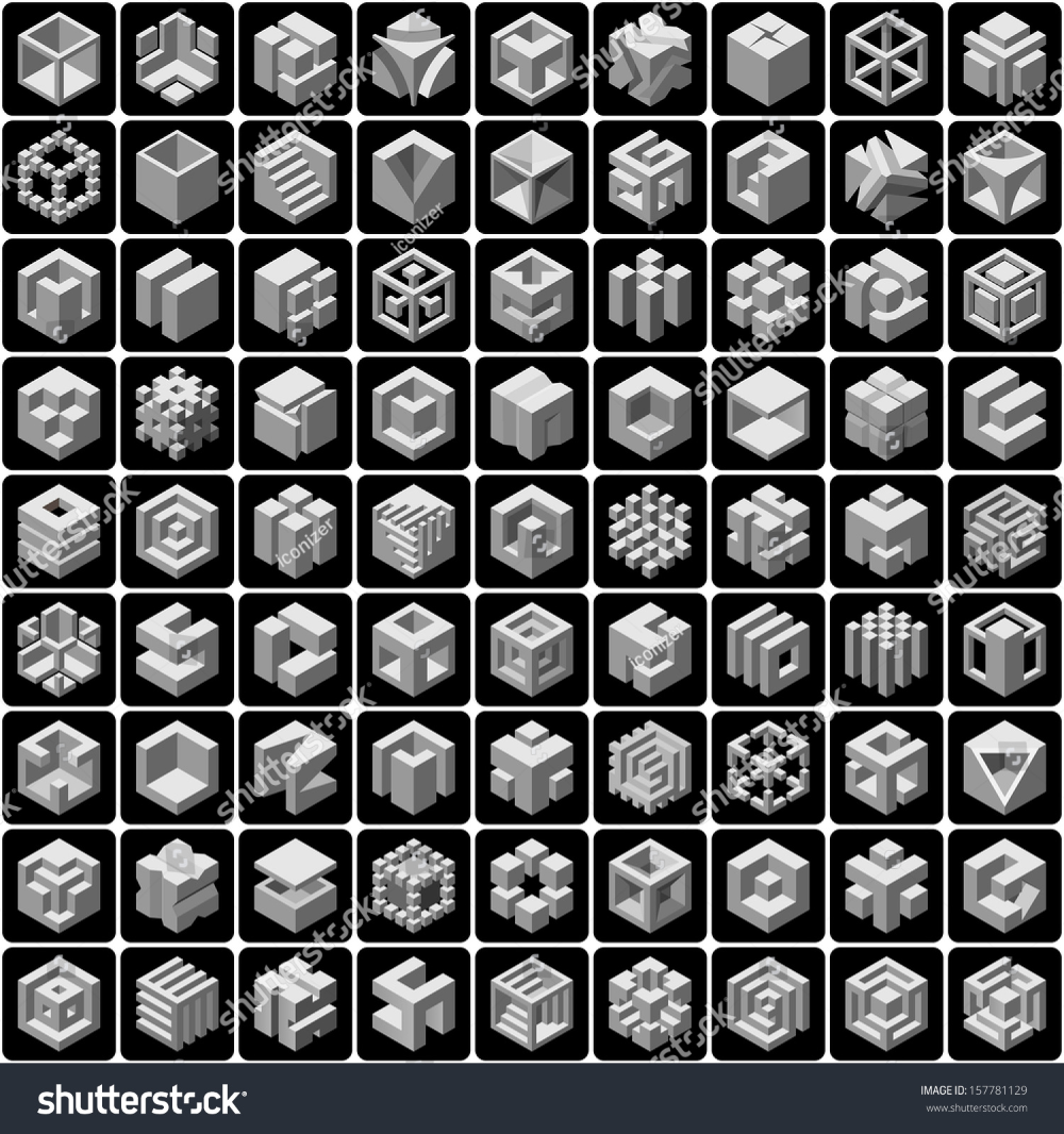 81 3d Cube Icons Set Stock Vector Royalty Free 157781129 Icon Set 3d Cube Vector Images
