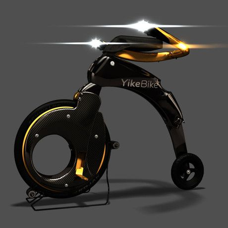 Weighing just a little over 25 pounds, the YikeBike is the smallest folding electric bike in the world. With the ability to fold up or unfold in just 15 seconds and travel a little over 14.3 miles per hour you will never have to worry about getting to that meeting across town, paying for gas, or getting stuck in traffic again.