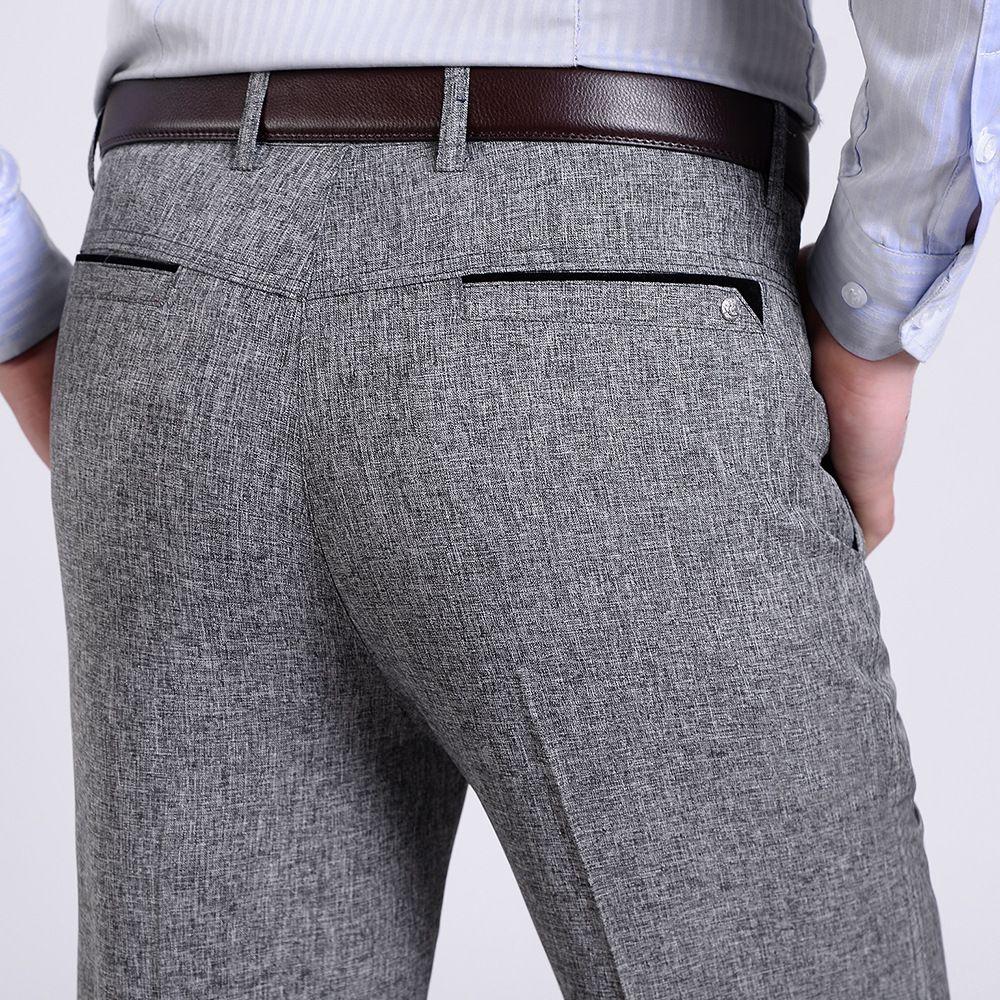 Summer Spring Thin Suit Pants Homme Middle Aged Male Trousers Fashion Linen Pants Men Straight Loose Business Casu Mens Linen Pants Mens Dress Pants Mens Suits [ 1000 x 1000 Pixel ]