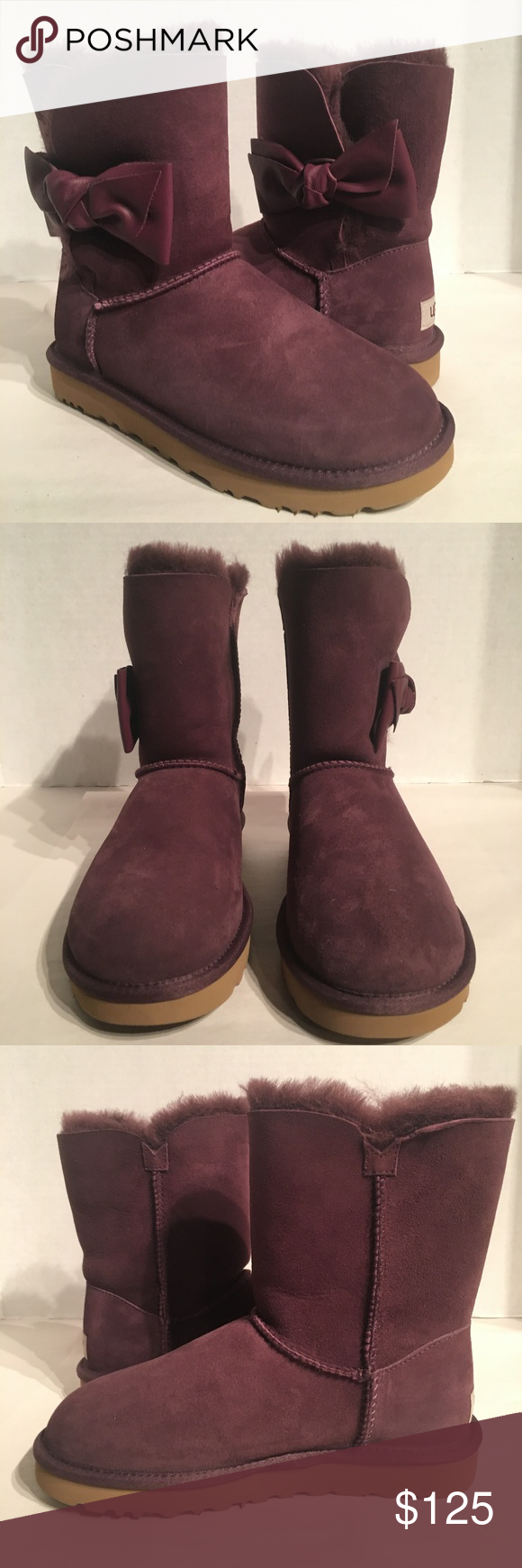 198410385db Ugg Women's Daelynn Port Leather Bow Boots New with box Buyers are ...