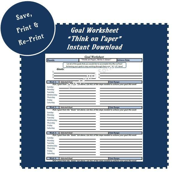 Goal Setting Worksheet - Print, Instant Download by EverydayForms on Etsy