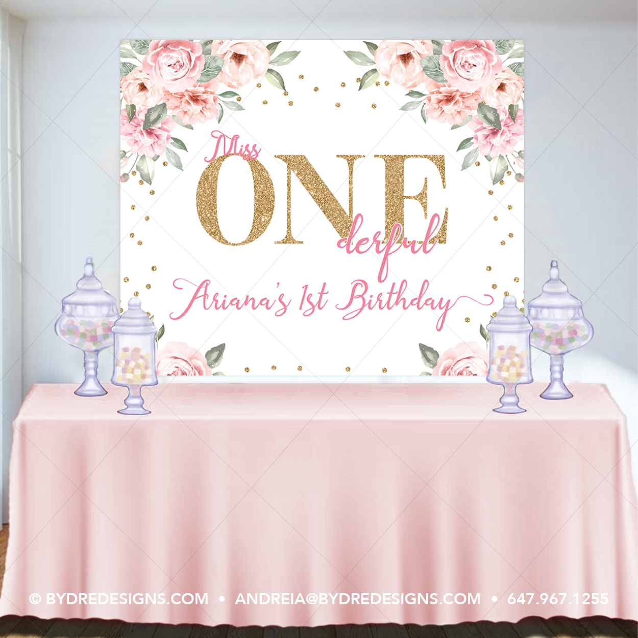 Large Personalised 1st Birthday Poster Banner Photo First Party Decorations Girl