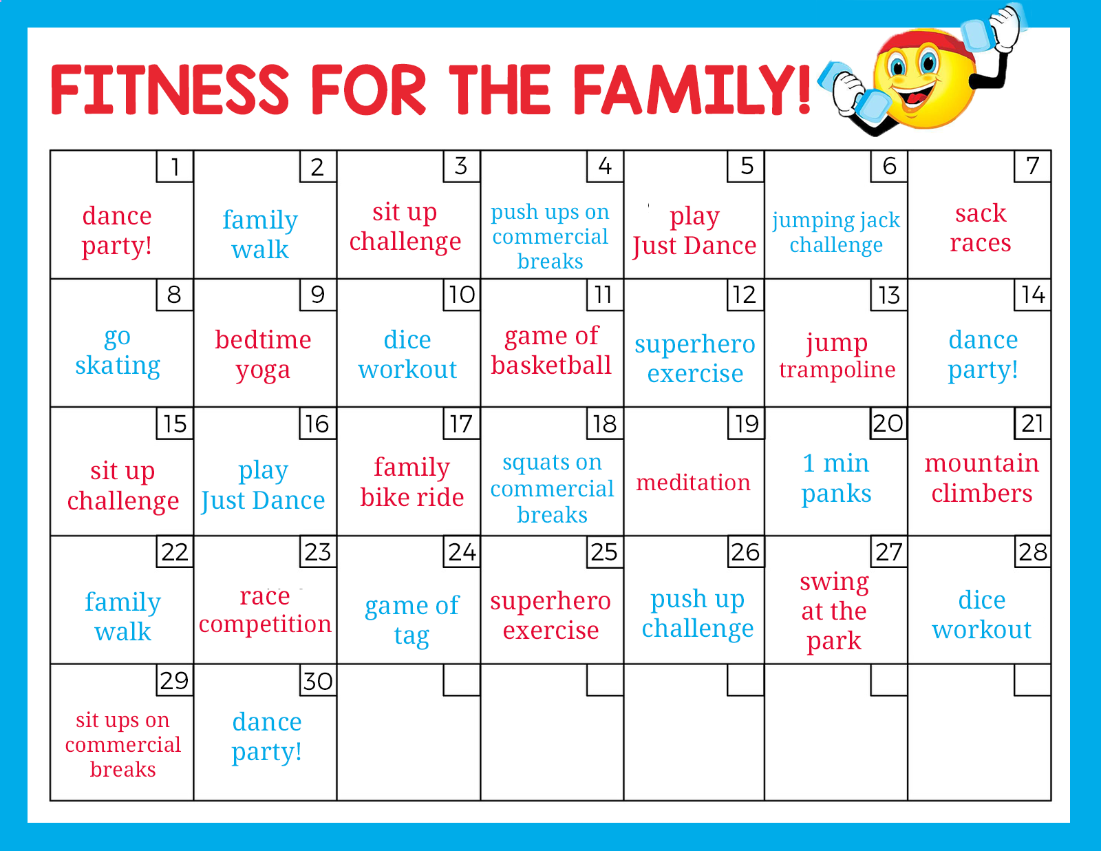 30 Day Family Fitness Challenge | Family fitness fun, Family fitness challenge, Kids fitness challenge