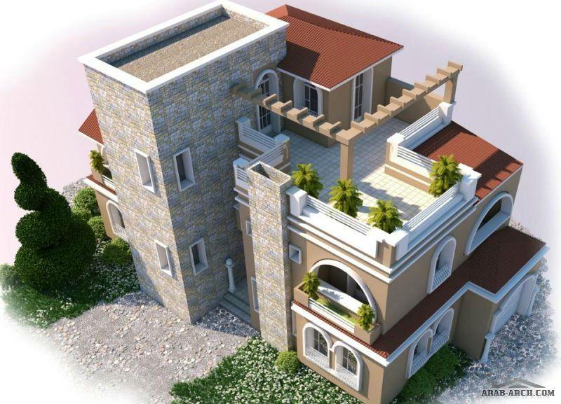 مناظير خارجيه وتصميم واجهه فيلا Flat Roof House Exterior Design Architecture