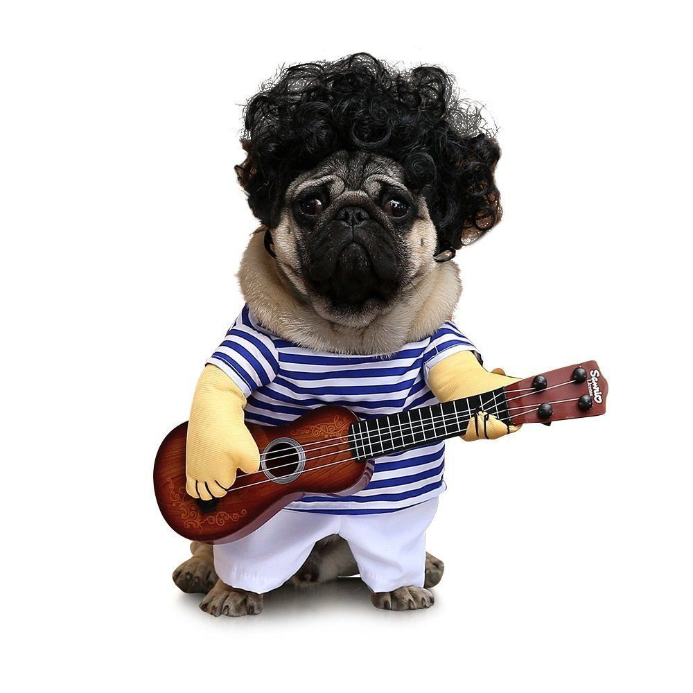 Petisay Dog Costume Guitar Style Pet Clothes With Pet Curly Wig