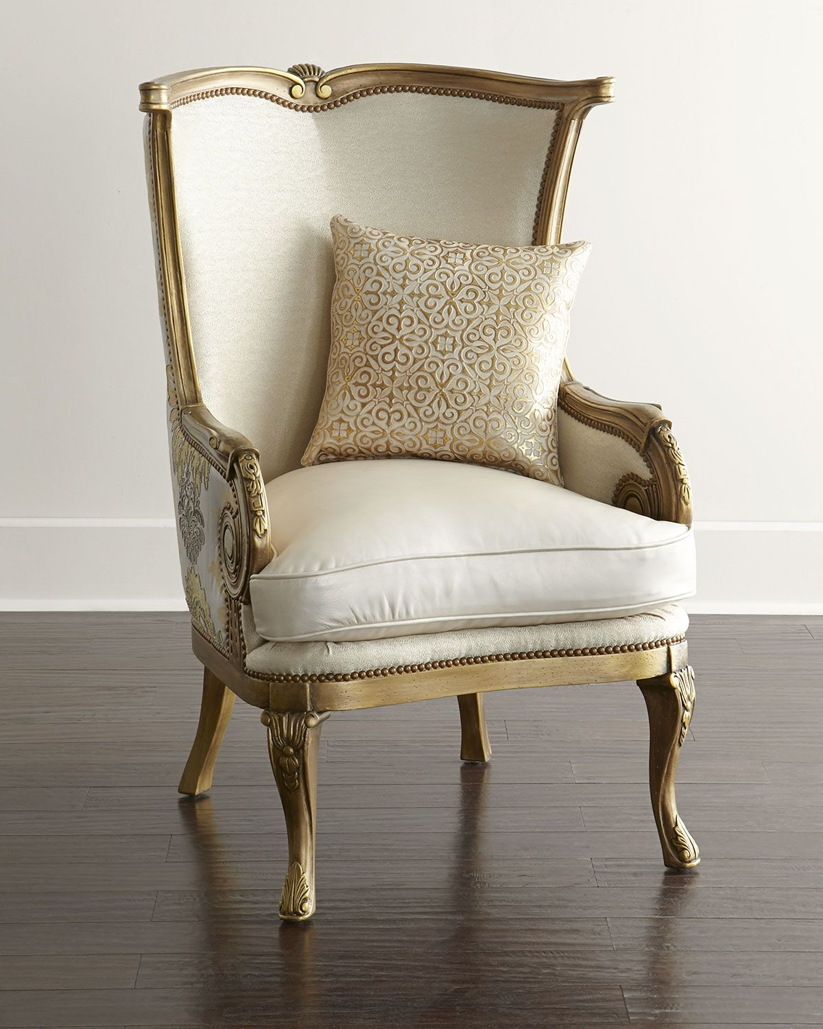 Massoud Golden Damask Chair  Upholstered chairs, Chair and