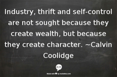 Character through industry, thrift, self control