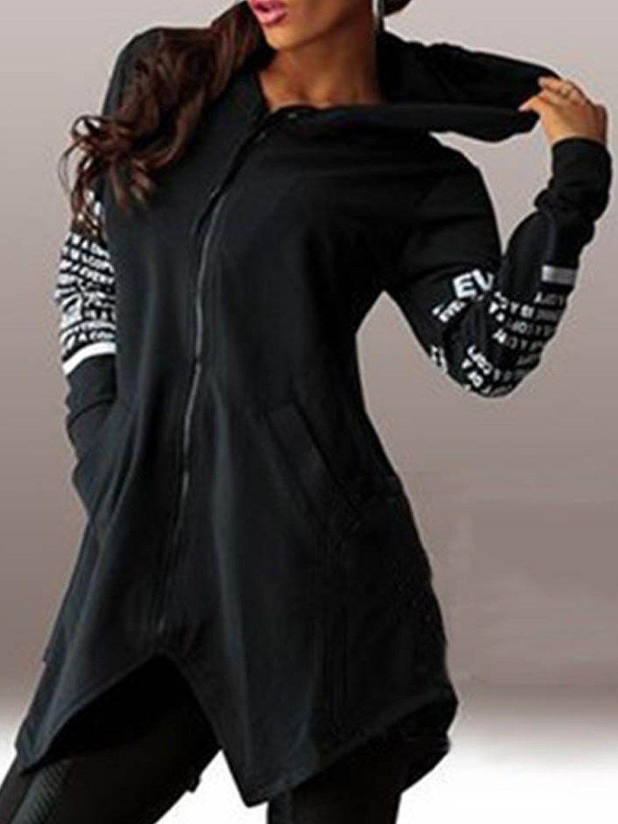 Sweat shirt Femme Asymétrique Zippé Devant à Capuche