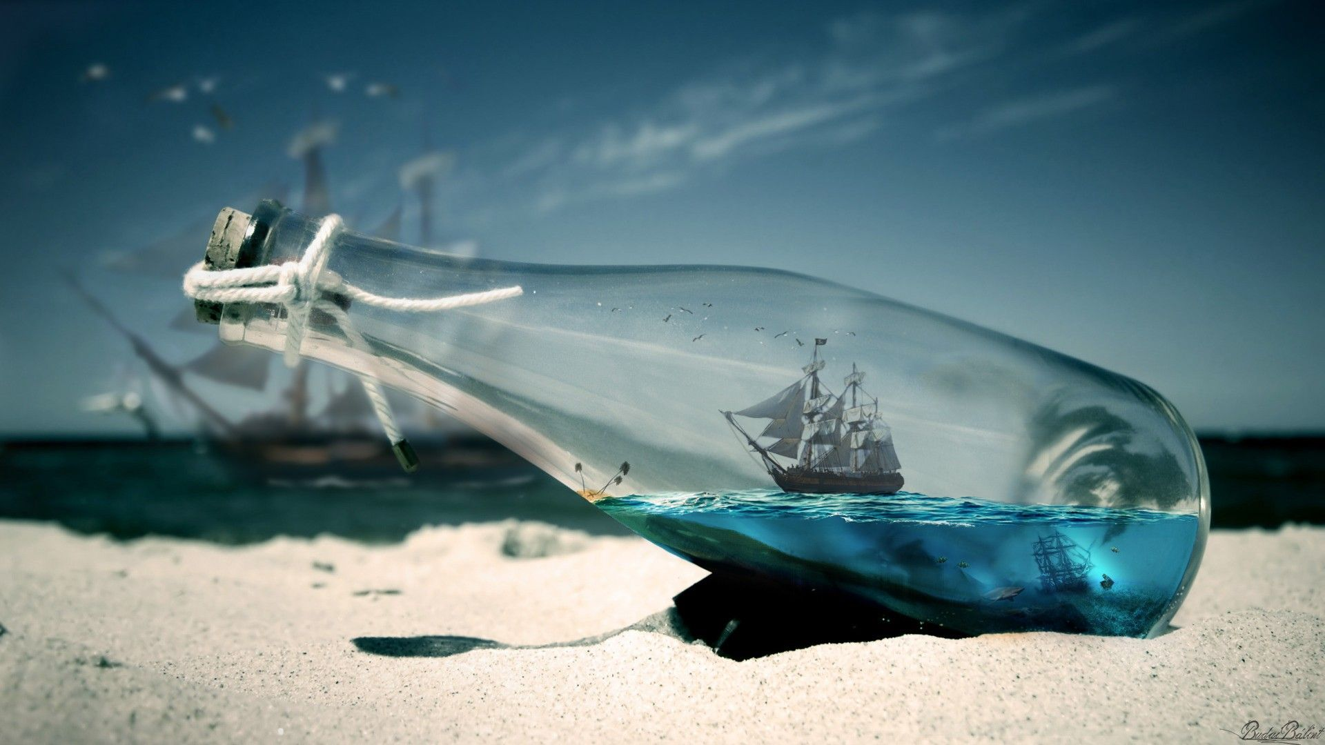 Water Sea Bottles Ships Pirates Of The Caribbean Wallpaper
