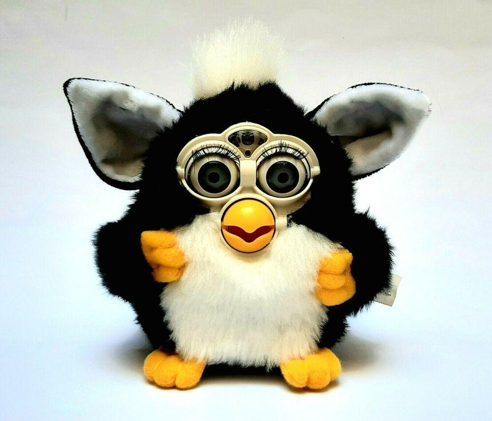 Knockoff Furby Furbysh B O Electronic Black And White Grey Eyes Extremely Rare Boelectronics Furby Gray Eyes Black And White