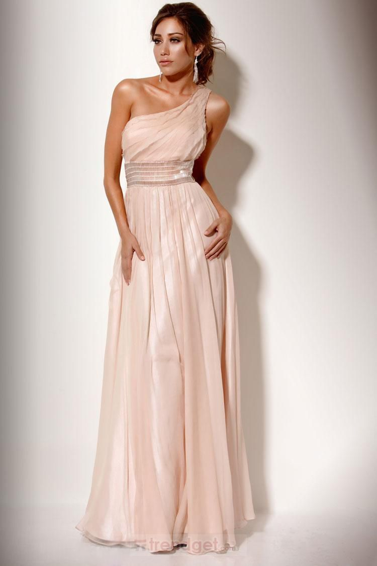Charming aline one shoulder floorlength chiffon colored prom