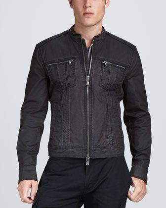 1a21e01f9d2 John Varvatos Star USA Denim Motorcycle Jacket - Neiman Marcus ...