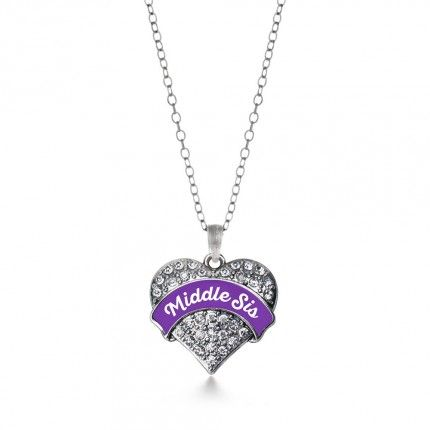 Purple Middle Sis Pave Heart Necklace