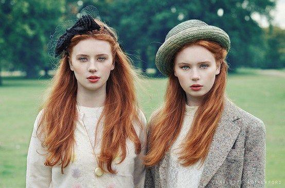 Identical redhead twins