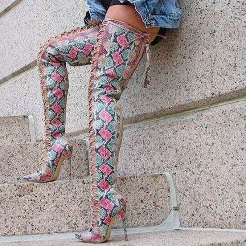 Nelly B Jayda Blush Snake Thigh High Boot Plus Size Friendly Limited Edition