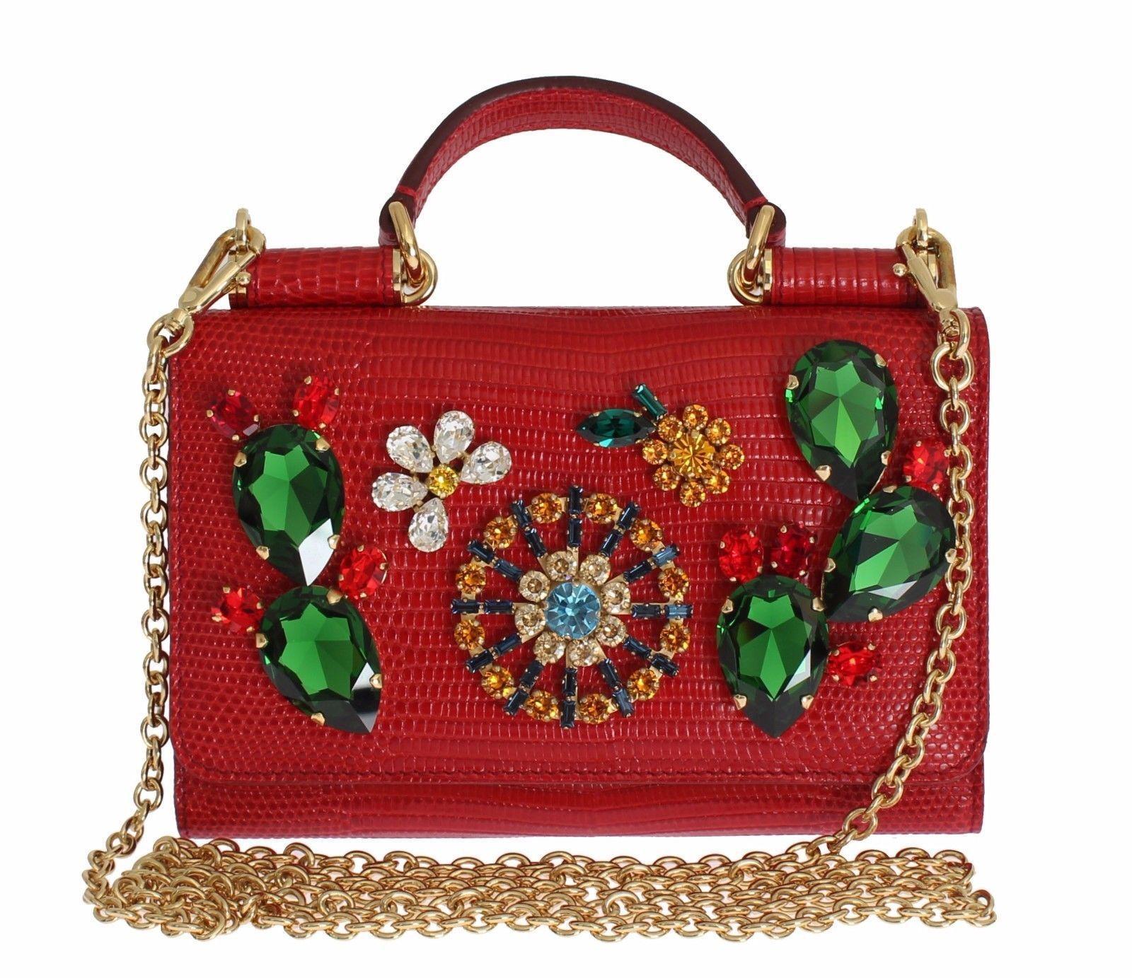 Dolce   Gabbana Purse Mini VON Red Lizard Skin Crystal Carretto ... c55cf78075