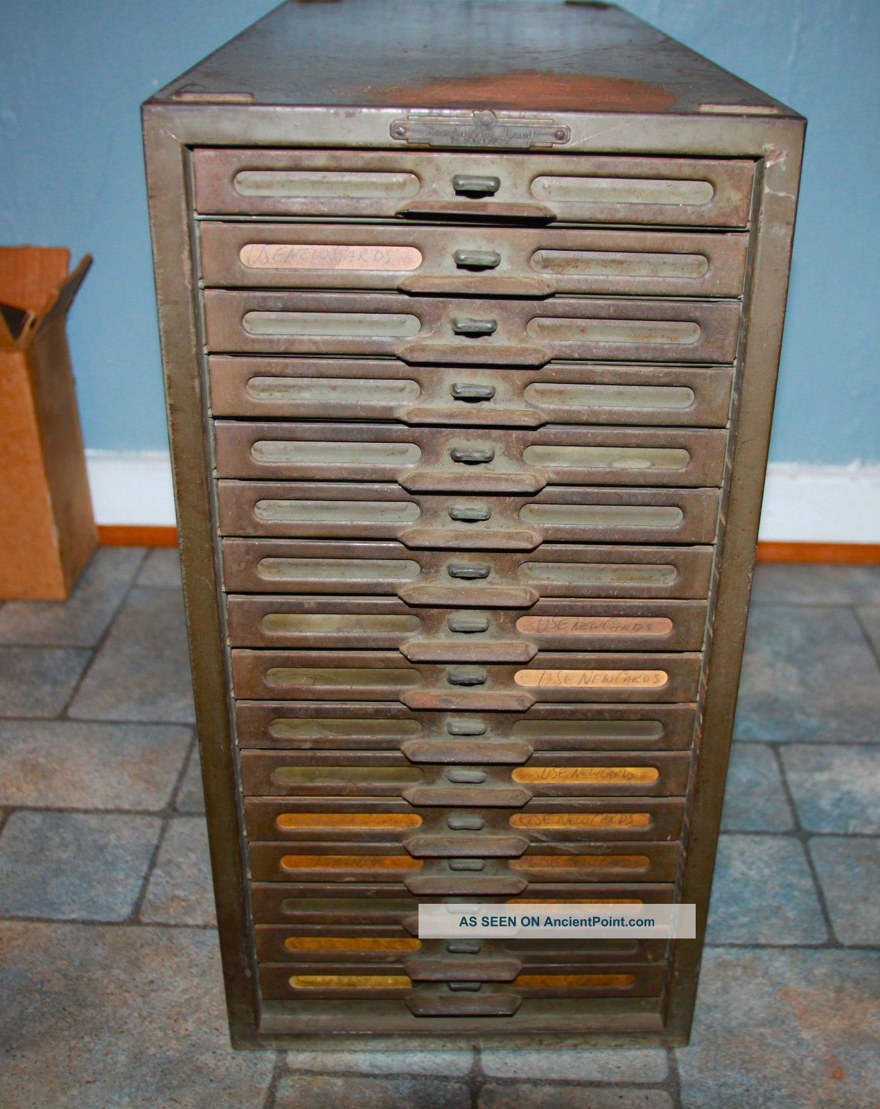 Vintage Remington Rand Kardex Metal File Cabinet 16 Drawers Factory 1900 1950 Photo
