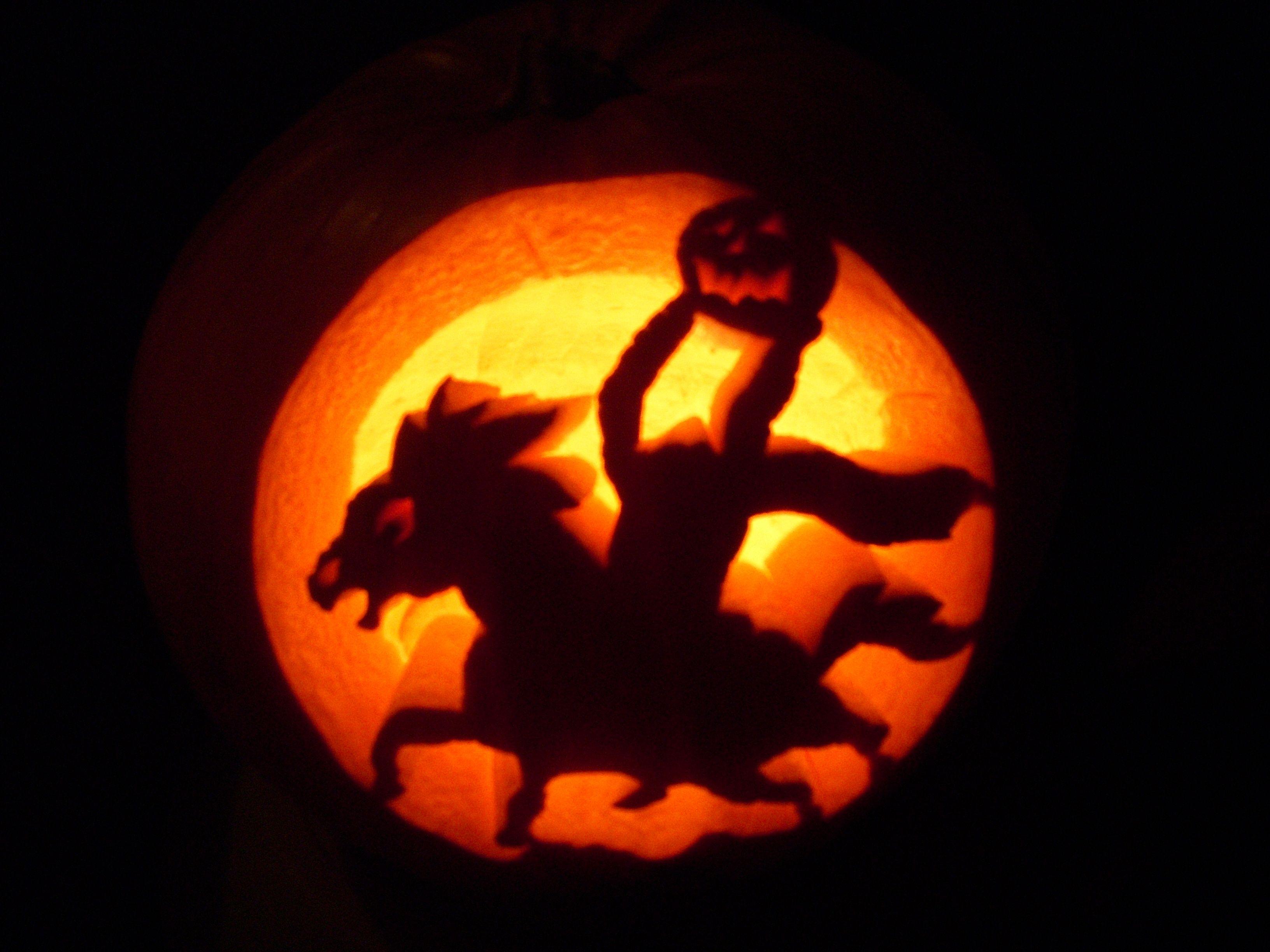 The Headless Horseman Pumpkin Carving Headless Horseman Carving