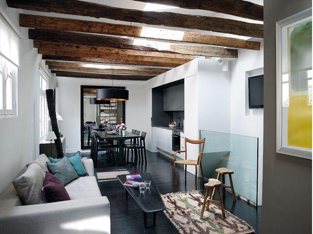 Cuisine salle manger et salon kitchen dinning room living room for Plafonnier salle a manger pour deco cuisine