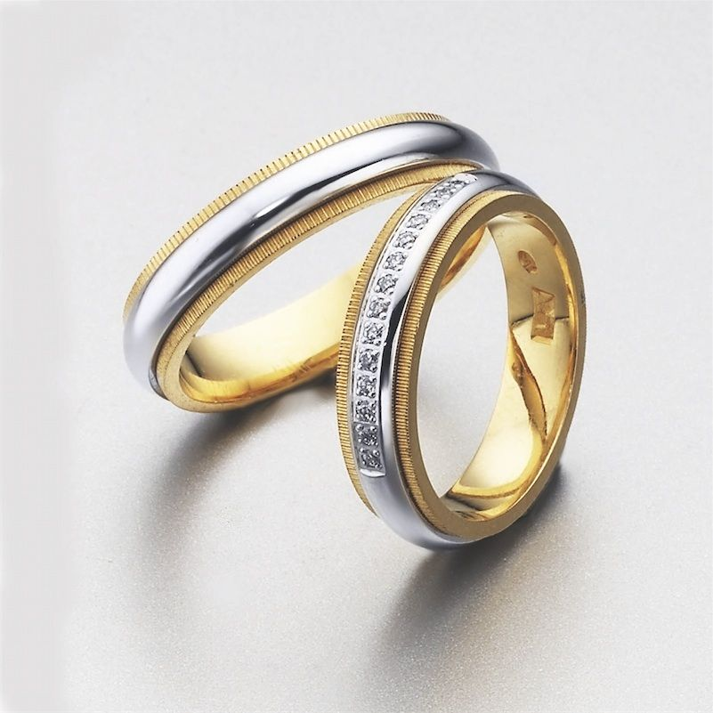 Alianzas de bodas de LK, oro blanco y amarillo con pequeños diamantes:)