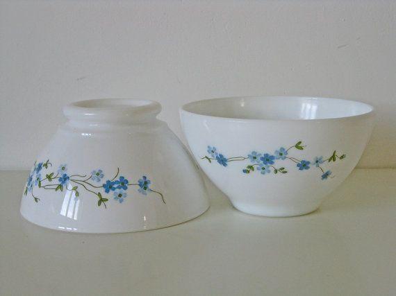 Arcopal bowls, pair of milk glass \
