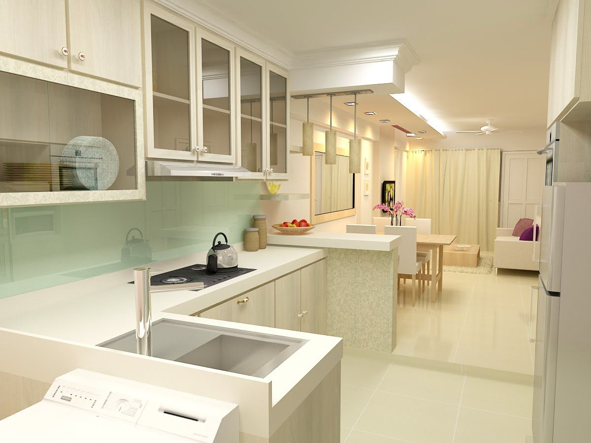 F guinto portfolio modern country style hdb 3 room flat for Kitchen ideas singapore