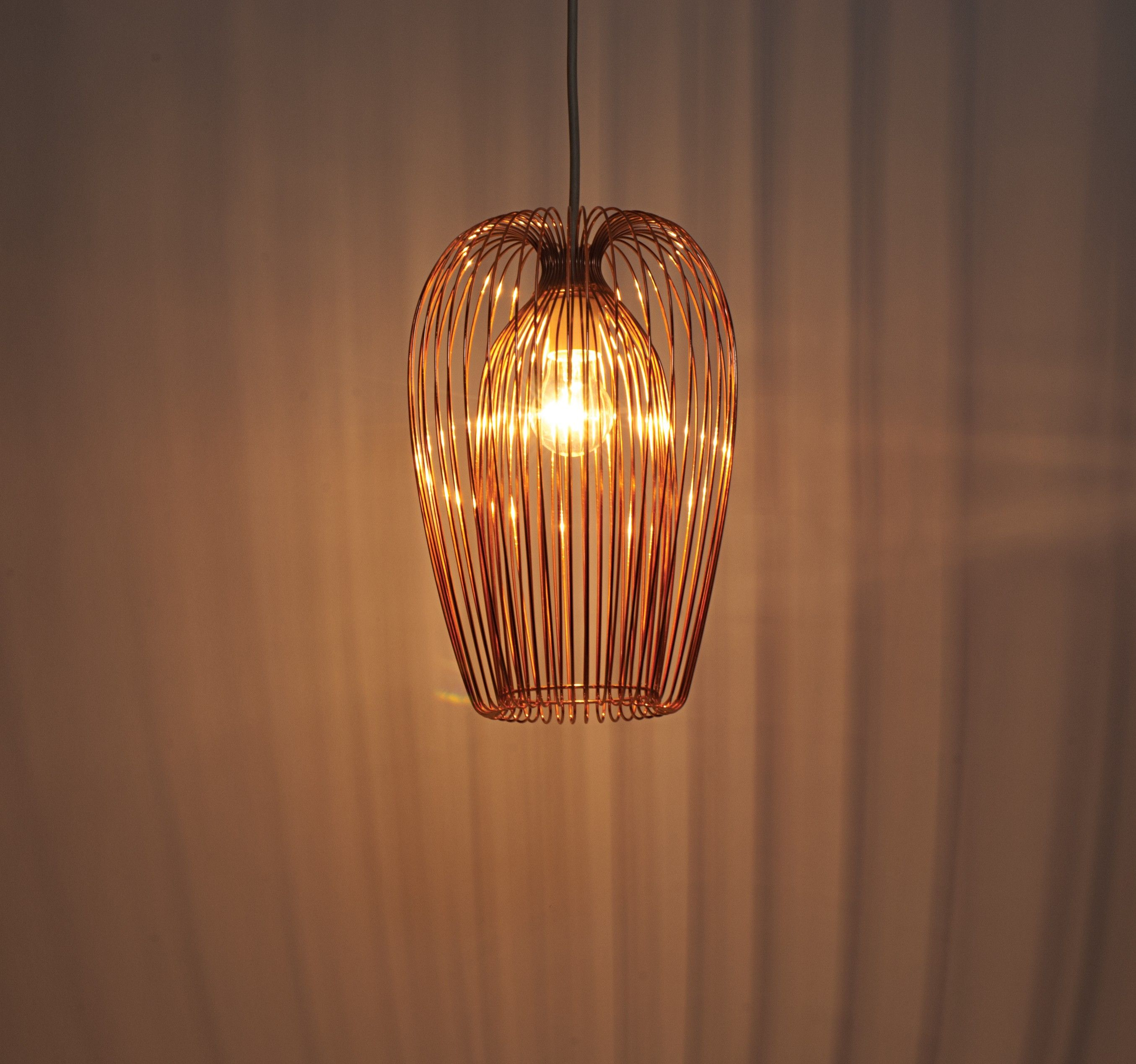 Hanging Pendant Light With Copper Wire Shade Hanging Ceiling