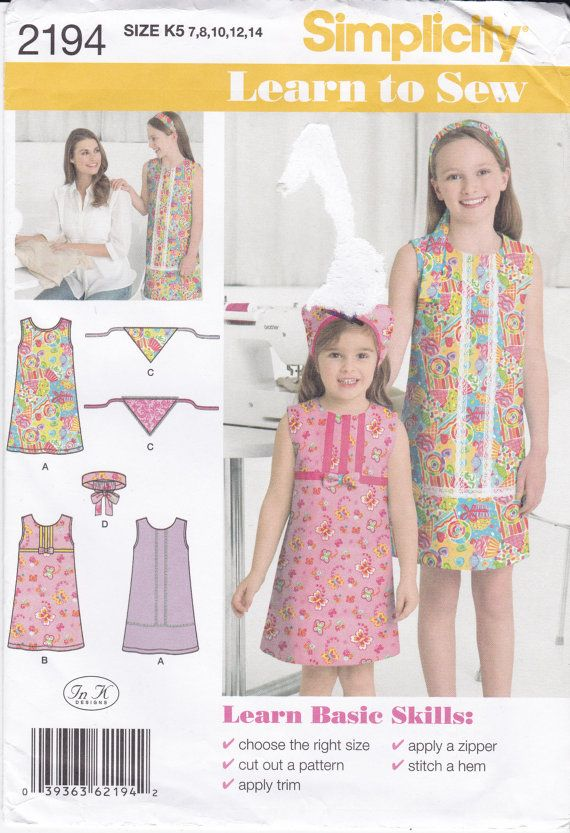 Girls' Sleeveless A-Line Dress and Head Scarf Simplicity Sewing Pattern 2194 Child's Size 7 8 10 12 14