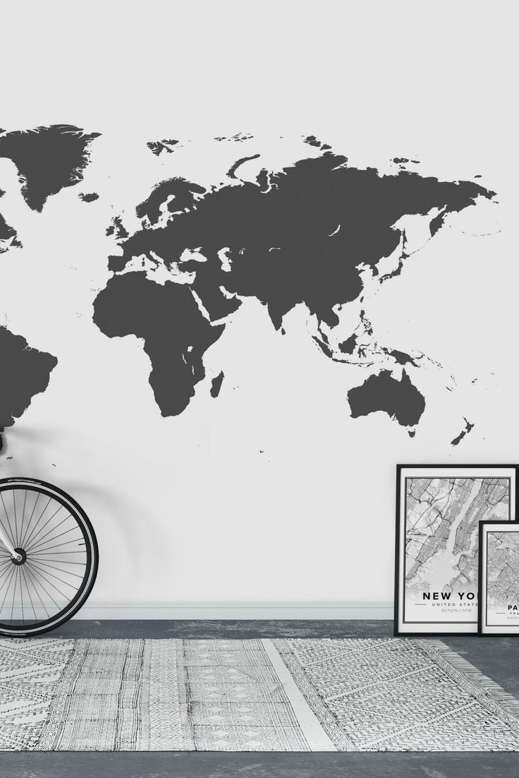 World map grey wall mural wall murals wallpaper and wallpaper paste world map grey wall mural wallpaper gumiabroncs Images