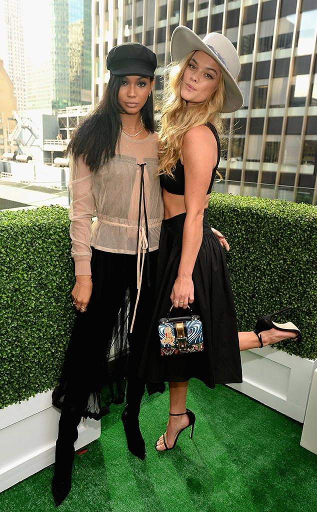 Chanel Iman & Nina Agdal from The Big Picture: Today's Hot Photos  The models are seen attending G.H. Mumm and Usain Bolt's Toast to the Kentucky Derby in New York City.