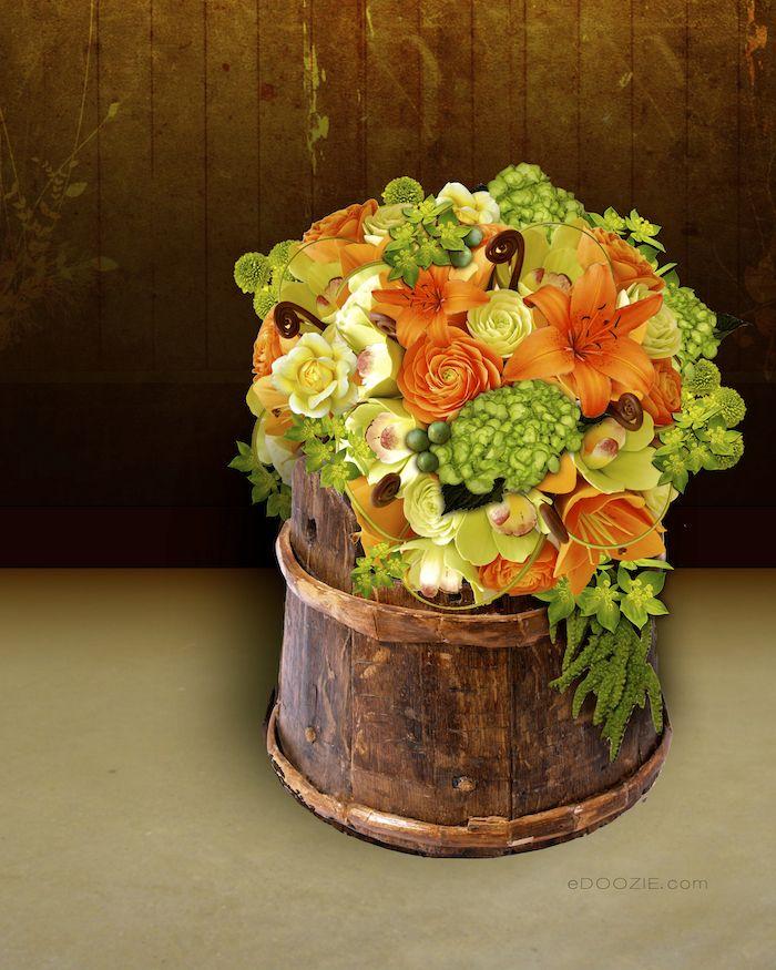 Floral Arrangement, Orange Flower Arranging, Green And