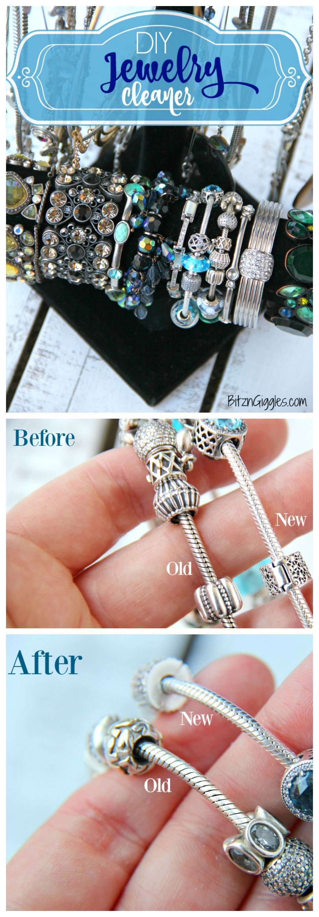 DIY Jewelry Cleaner - Homemade 4 ingredient jewelry cleaner that will remove years of tarnish and make your jewelry sparkle like new! Jewelry Cleaner - Homemade 4 ingredient jewelry cleaner that will remove years of tarnish and make your jewelry sparkle like new!