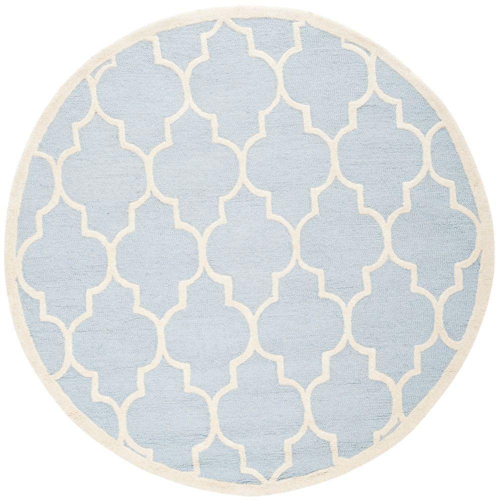 Safavieh Cambridge Light Blue Ivory 8 Ft X 8 Ft Round Area Rug