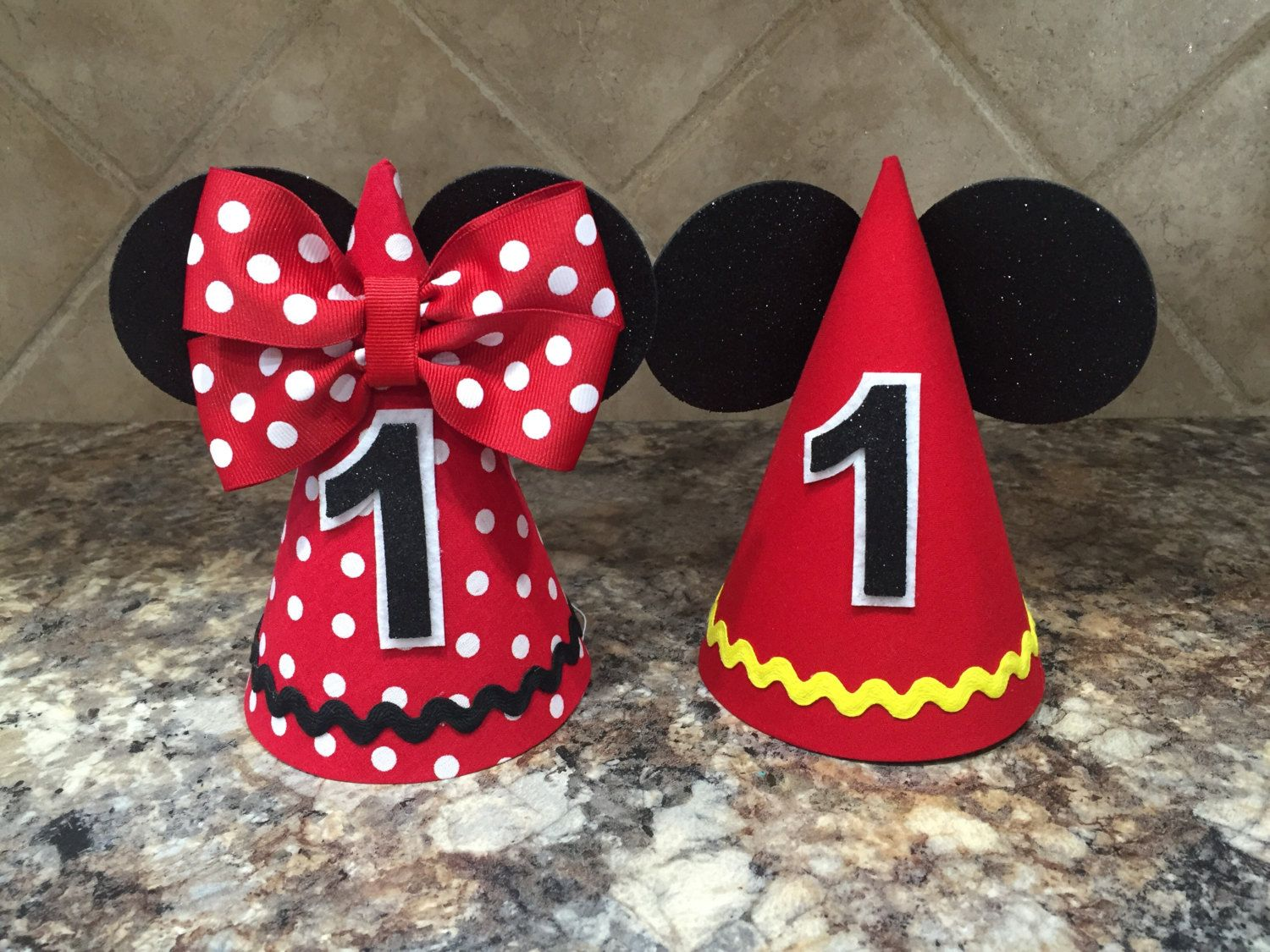 Mickey Mouse Birthday Hat And Minnie First Twins