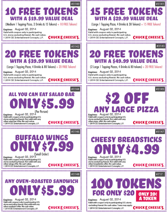 chuck e cheese cupons