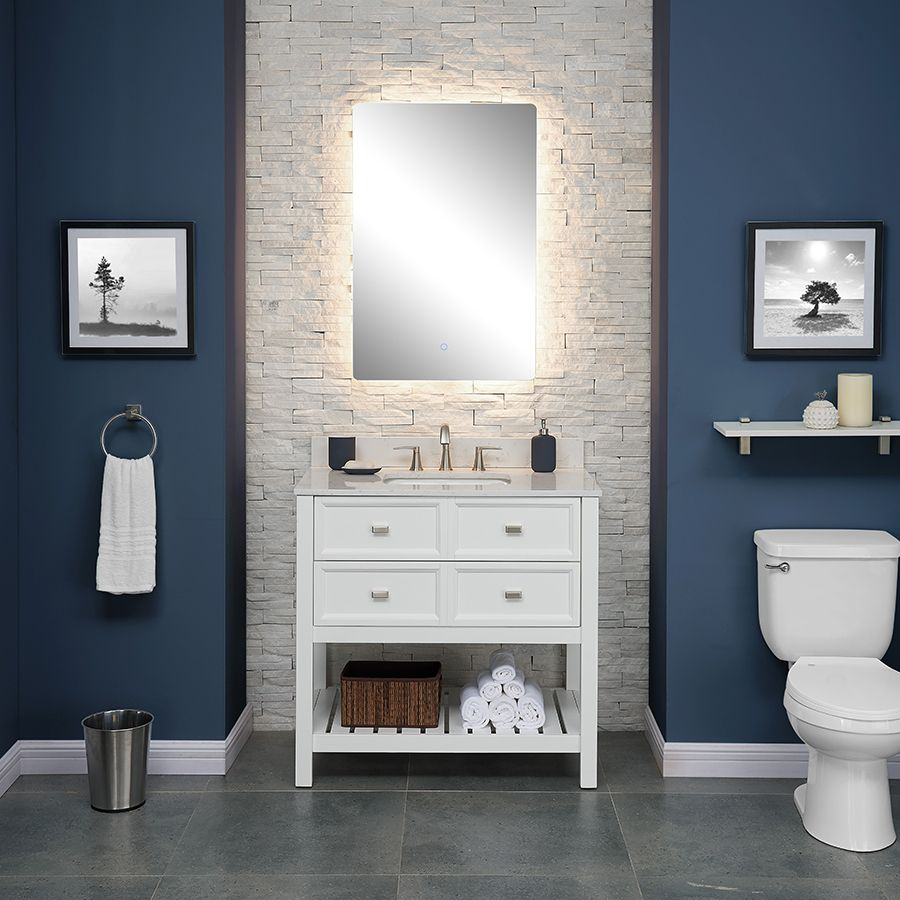 119 Small Bathroom Backlit Vertical Vanity Mirror Lowe S