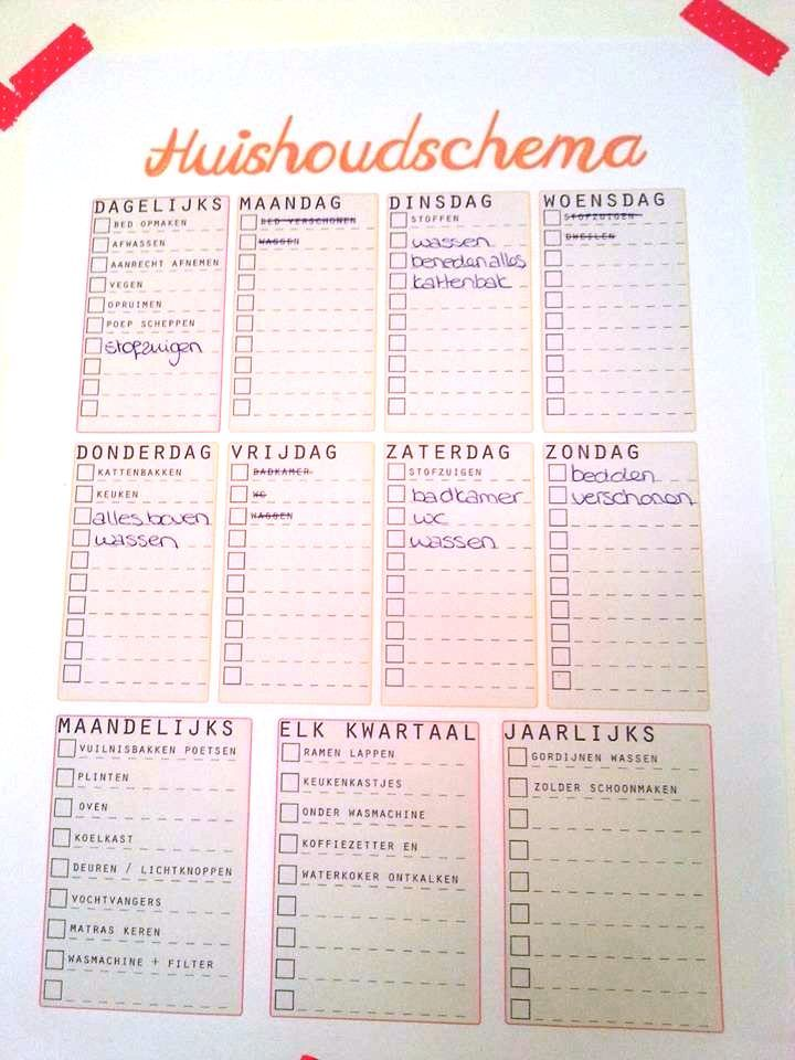 huishoudschema  - household tips