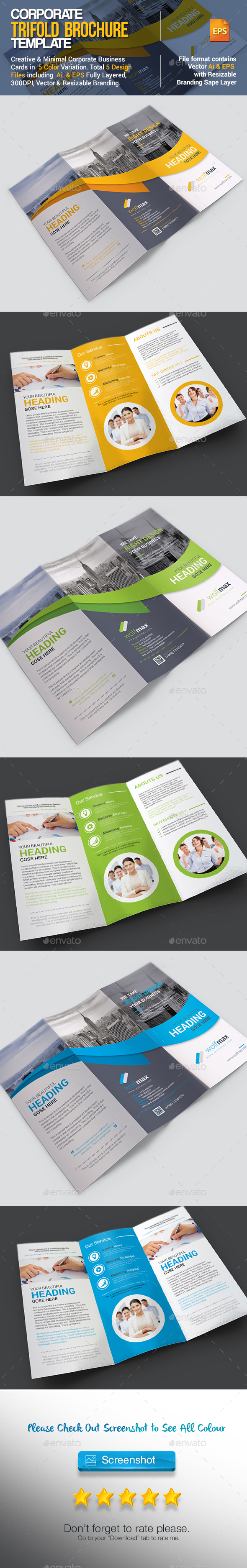 Corporate Tri-fold Brochure Template Vector EPS, AI Illustrator ...