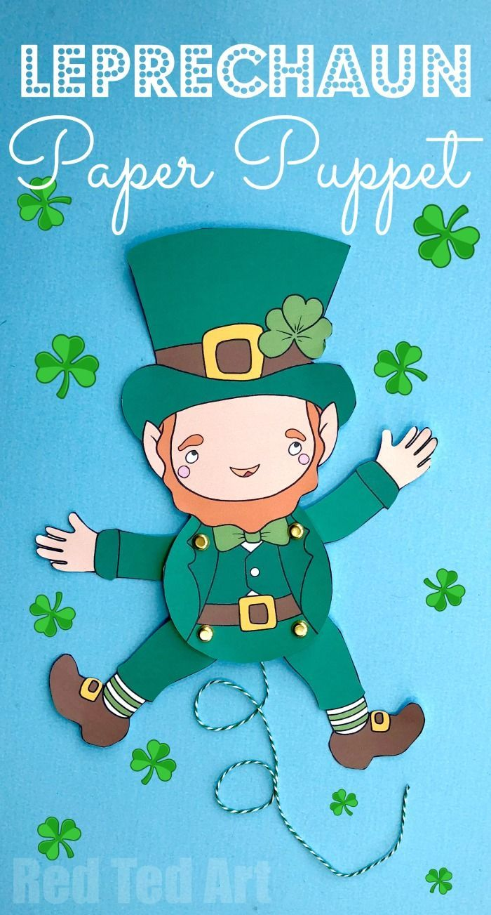 Articulated Leprechaun Paper Puppet for St Patrick\'s Day | Santa ...