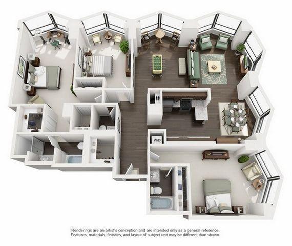 Suite A 3 Bedroom Apartment Floorplan Apartment Layout Sims House Plans Apartment Architecture