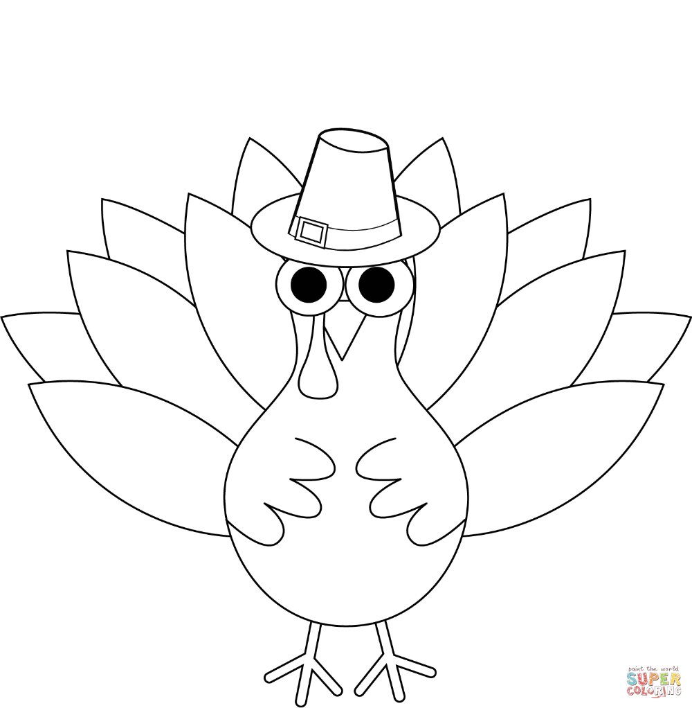 Turkey Coloring Pages Easy