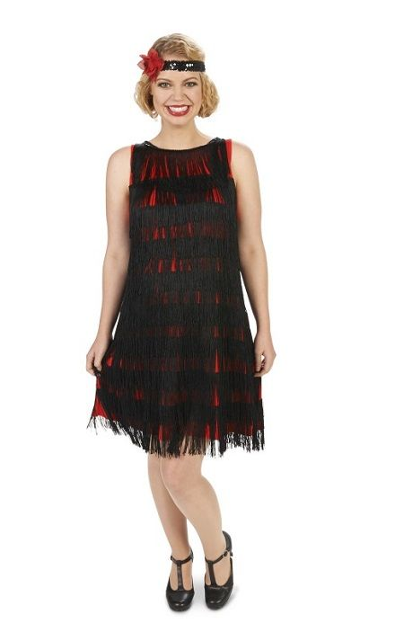 c9e68ed37bd57 red maternity flapper costume with black fringing. The costume comes with a  sequined headband decorated with a red rose.
