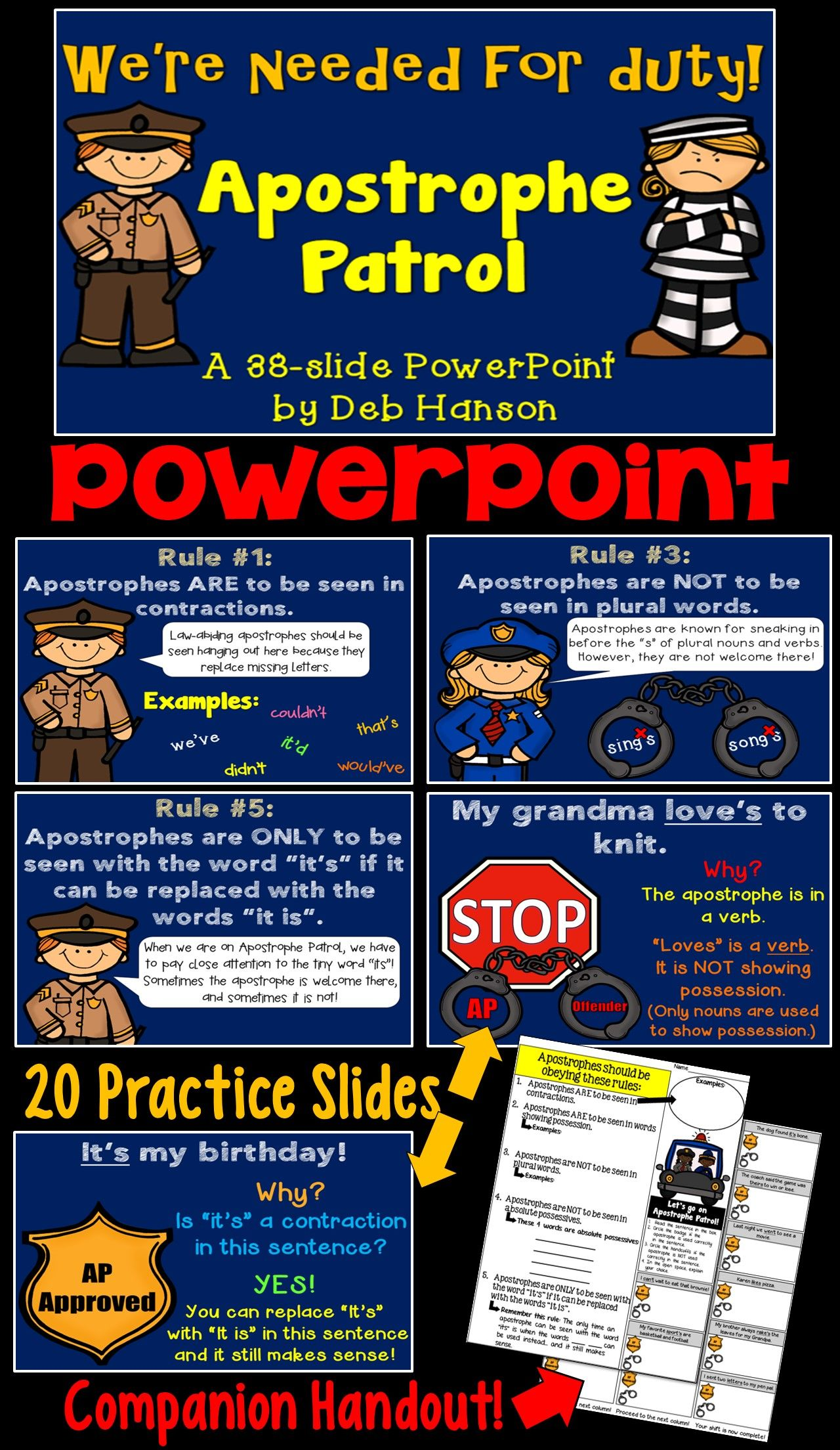 Apostrophe Patrol Powerpoint Focusing On Possessives And Contractions