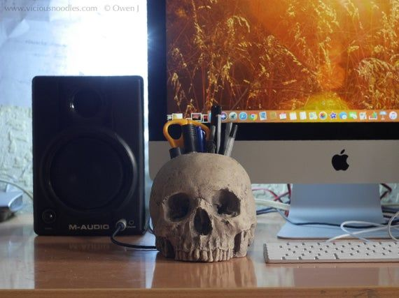 Photo of HUMAN SKULL brush holder, life size & detailed, for paintbrushes, make up brushes, pencils, office stationery