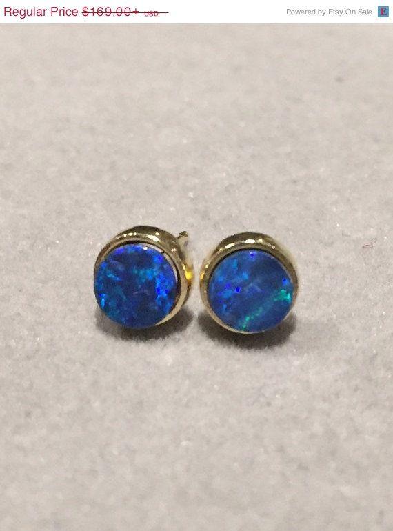 14k Australian Black Opal Earrings 14k Yellow Gold Round
